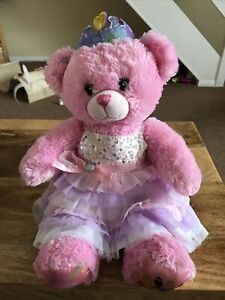 Build A Bear Pink Disney Princess Teddy Plush With Purple Crown And Outfit.
