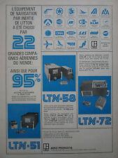 5/1972 PUB LITTON LTN-51 LTN-58 LTN-72 AIRLINES SAS UTA TIA IBERIA FRENCH AD
