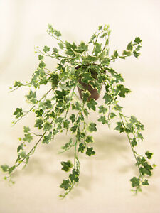 55cm Potted Variegated Ivy Trailing Artificial Plant Fake Ivy in Brown Pot
