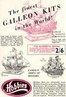 Vintage Hobbies Mayflower and Revenge Galleon Kit Advert - Original 1953
