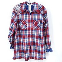 Disney Parks WDW Long Sleeve Mickey Mouse plaid shirt red white blue XL womens