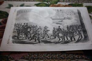 1850 Incisione 8/1848 Francoforte Allerheiligenstraße Barricata