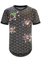 New Men Jersey T-Shirt Boom Comic Design Longline Crazy Toons Sizes S-3XL
