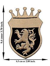 Lion Crown Crest  Royal Heraldic Club Team V01 Applique Iron on Patch Sew