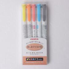 Zebra Mildliner Underline Color DoubleSided Highlighter Marker Pen 5-Color Set