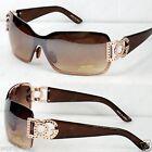 DG Womens Sunglasses Shades Fashion Designer Gold Brown Shield Retro Wrap 859