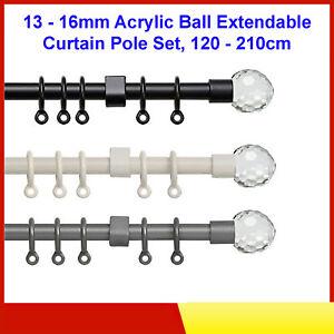 Speedy 13 - 16mm Acrylic Ball Extendable Curtain Pole Set, 120 - 210cm