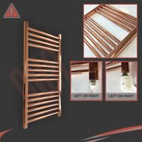 400mm(w) x 800mm(h) Straight Copper Electric Heated Towel Rail Radiator - 150W