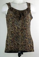 White House Black Market Brown Tiger Stripe Ruffled Sleeveless Tank Shirt Top M