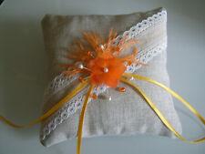 Coussin pr Alliance Orange/Ivoire/Blanc/Beige toile jute nature Mariage Mariée