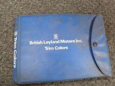 1977-1979 British Leyland Jaguar XJ6 XJ12 Vinyl Upholstery Colors Manual 1978