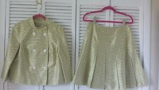 Emanuel Ungaro size 10 lined top, size 8 skirt 100%silk yellow green white plaid