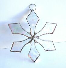 Lot of 10  Stained Glass Flat SNOWFLAKE  CLEAR   Suncatcher  Ornaments !
