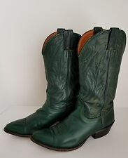 NOCONA ladies forest green leather cowboy boots Cuban heel 7 B EUC!