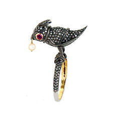 Silver Diamond Pave Fine Ring Jewelry Pearl Ruby Gemstone Bird Fashion Ring 925