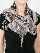 Leigh & Luca Leaves Triangle Tweed scarf w/pixel black print & dark silver foil