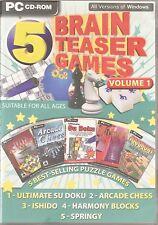 5 Brain Teaser Games For PC CD-Rom Boxed (Free UK Post)