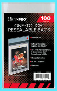 100 Ultra Pro ONE TOUCH RESEALABLE BAGS NEW magnetic screw toploader card sleeve