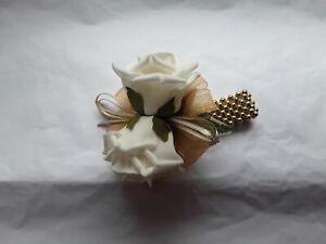 Prom Wedding ivory rose  /gold  Wrist Corsage/sparkle elasticated bracelet