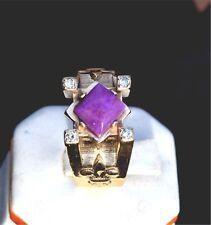 Rare SUGILITE and diamond  14Kt Yellow gold designer ring
