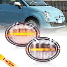 Clear Dynamic Amber Led Side Marker Light for 07-19 Fiat 500 500e 500c Abarth 2X