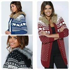 Ladies Size 14/16 Black fairisle knit Fur Trim Long Hooded Cardigan