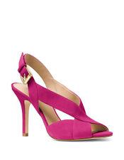Michael Kors Becky 7.5 Fuchsia Pink Suede Peep Toe Stilettos Cross Party Sandals