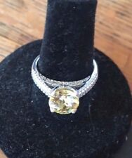Yellow & White CZ  Engagement Ring / Sterling Silver / size 7 -New