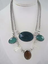 Lucky Brand silver tone green & brown stone necklace, NWT