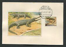 ANGOLA MK 1957 FAUNA KROKODIL CROCODILE MAXIMUMKARTE CARTE MAXIMUM CARD MC d3760