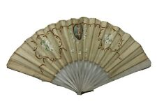 Small Antique French Folding Hand Painted Silk Fan