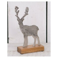 Aluminium Stag on Wooden Stand 22cm Decorations Home Accessories Ornaments