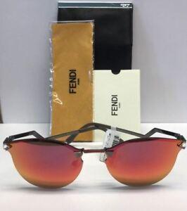 FENDI FF 0040/S CEMUZ Red Mirrored Rimless Sunglasses Italy Authentic COA CASE