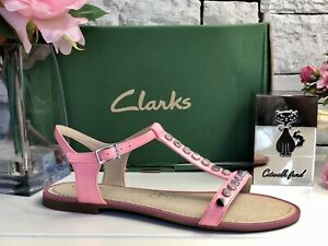 CLARKS - PINK SANDALS WITH SILVER STUDS - BRAND NEW - RRP £56 SIZE UK 6 - EU 39