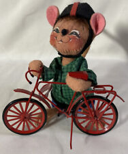 """RARE Annalee Thanksgiving Harvest ~ BOY MOUSE WITH RED BICYCLE ~ 6"""""""