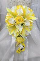 Sunbeam Yellow Cascading Bouquet - Yellow Roses and Lilies Artificial Flowers