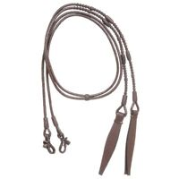 Tough-1 Classic Braided Romel Split Reins Western Show 8' Long Dark Oil