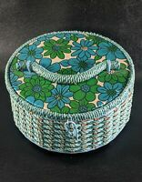 Vintage Mid Century Retro Turquoise Sewing Basket Made Exclusively For Singer