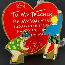 Vtg Antique 1930s 40s Teacher Valentines Card Fold Out Children at Chalkboard