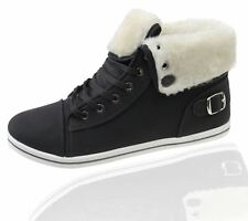 Womens Trainer Ladies Warme Lined Ankle Boots High Top Girls Pumps Shoes Size