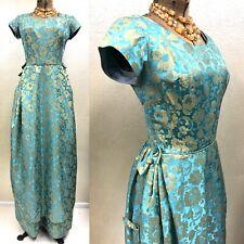 Vintage 1950's-1960's Teal and Gold Brocade Jacquard Maxi Dress Princess Jasmine