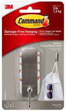 3M Command Medium Brushed Nickel Decorative Hook Damage Free Hanging