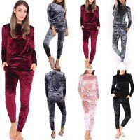 Women Crushed Velvet Tracksuit Sweatshirt Pants Gym Fitness Sleepwear Loungewear
