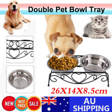 Stainless Steel Dual Elevated Raise Pet Dog Puppy Feeder Bowl Food Water Stand G