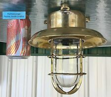 Big Ship Salvage - Brass Ceiling Light w/Brass Deflector Cover - Us Wiring!