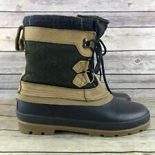 Bass Women's Tan & Blue Rubber and Suede Leather Lace Up Duck Boots 9