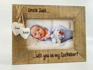 Will You Be My Godmother Godfather Godparents Personalised Photo Frame Driftwood