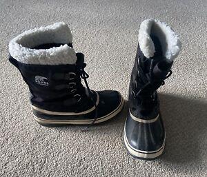 Sorel Carnival Waterproof Rubber Snow Boots Black White Fur Size 6