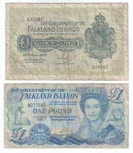A Pair of old Falkland Islands Banknotes from 1982 - 1984
