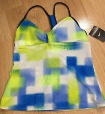 Nike Tankini Top Women's Size 10 Or Medium Blue Green White